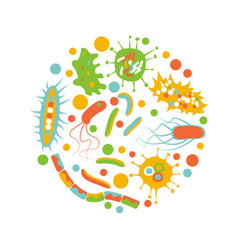 bacterial microorganism in a circle vector image