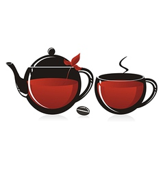 Glass teapot and mug vector
