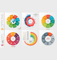 Collection of 6 circle chart templates 8 vector