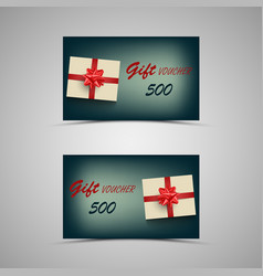 Gift voucher with present on blue background vector