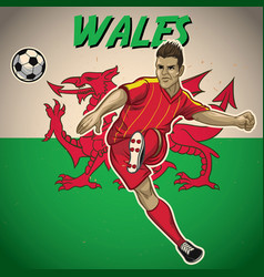 Wales soccer player with flag background vector