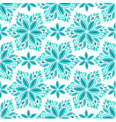 Ornamental blue floral background seamless vector