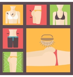 Keeping fit weight loss plastic surgery set vector