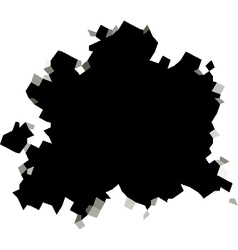 Pixel black hole shape in white surface vector