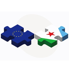 European union and djibouti flags in puzzle vector