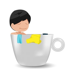 Man cartoon relax cup idea vector