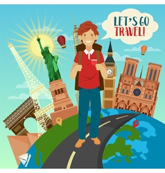 Famous buildings on the globe and happy tourist vector