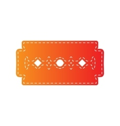 Razor blade sign orange applique isolated vector