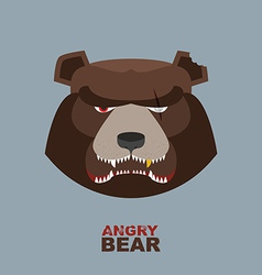 Angry bear head mascot bear head logo for hockey vector