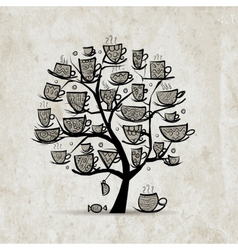 Art tree with mugs and cups sketch for your vector