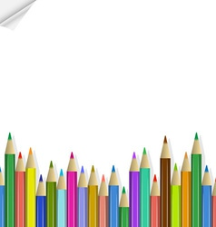 background with colored pencils vector image