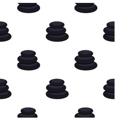 Black basalt balancing stones pattern seamless vector