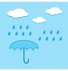 Blue umbrella and raindrops vector image