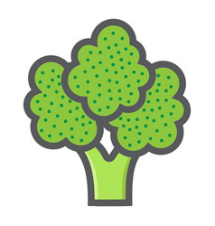 Broccoli colorful line icon vegetable vector