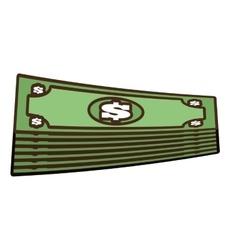 Cartoon stacked bill money dollar vector