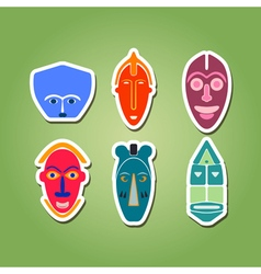 Color icon set with african ritual masks vector