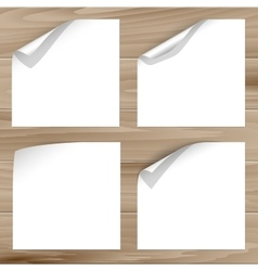 Curled corner on wooden planks background vector