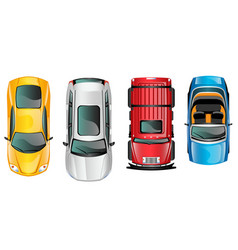 different cars top view position set vector image vector image