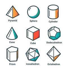 flat line isometric shapes light vector image vector image
