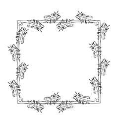 Gray scale frame with olive branch contour vector