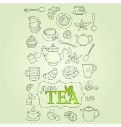 Hand drawn green tea doodle concept vector image vector image