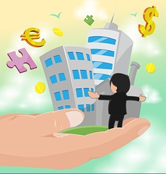 Hand hold business man success work vector