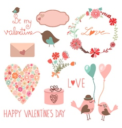 Happy valentines day set vector