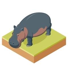 Hippo isometric icon2 vector