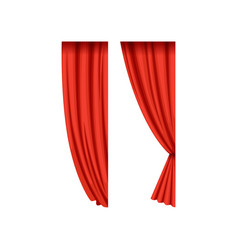 Icons of red silk or velvet theatrical curtains vector