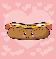 Kawaii hot dog image vector