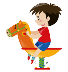 Little boy on rocking horse vector