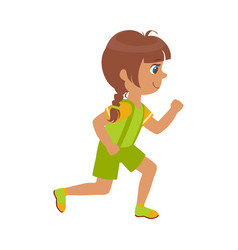 Little girl running in a green shirt and shorts vector