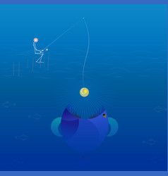 Low poly line fisherman fishing vector