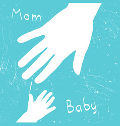 Mom and baby hands vector