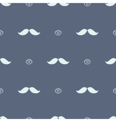 Movember mustache and eye hipster seamless pattern vector image