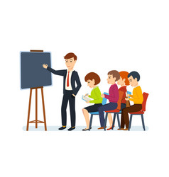 office employee is holding conference for audience vector image