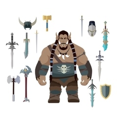 Orc game set vector