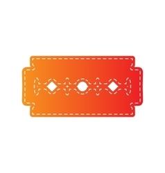 Razor blade sign Orange applique isolated vector image