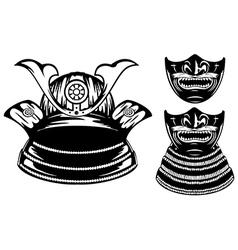 Samurai helmet menpo and mempo with yodare kake vector image