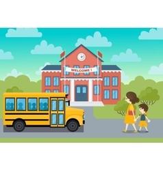 School building and yeollow bus schoolchild vector