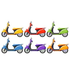 Scooters in six different colors vector