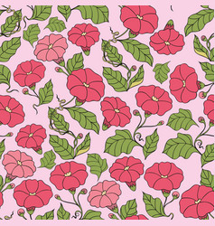 seamless pattern with flowers on a pink vector image vector image