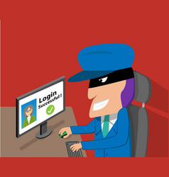 Senior woman was hacked account by hacker vector