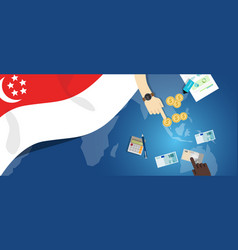 Singapore asia economy fiscal money trade concept vector