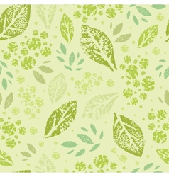 Stamped green Leaves Seamless Pattern Background vector image vector image