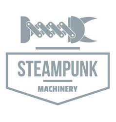 Steampunk machinery logo simple gray style vector