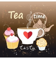 tea and cakes with cherries vector image vector image