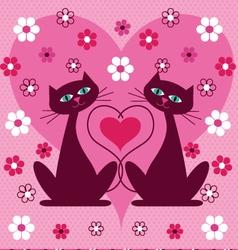 Valentine cats vector