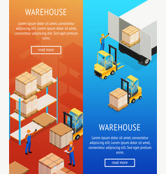 Warehouse vertical isometric banners vector
