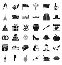 wine celebration icons set simple style vector image vector image